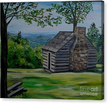 Cabin On The Blue Ridge Parkway In Va Canvas Print by Julie Brugh Riffey