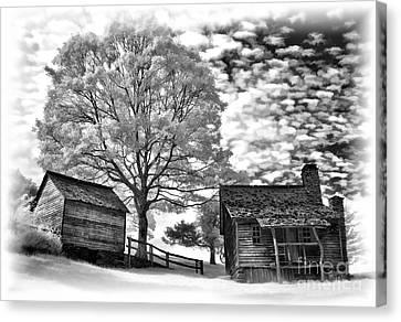 Cabin Under Buttermilk Skies Vignette Canvas Print by Dan Carmichael
