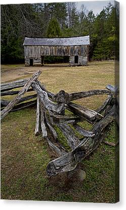Cable Mill Barn In Cade's Cove No.123 Canvas Print by Randall Nyhof