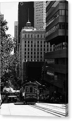 Cablecar On San Francisco California Street . Bw . 7d7176 Canvas Print by Wingsdomain Art and Photography