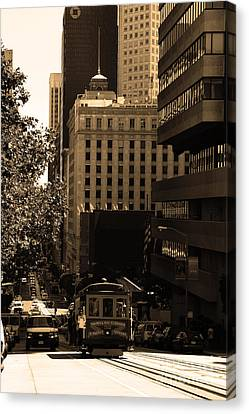 Cablecar On San Francisco California Street . Sepia . 7d7176 Canvas Print by Wingsdomain Art and Photography