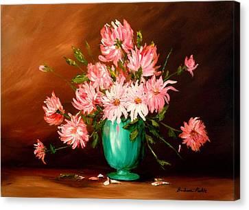 Cactus Dahlias Canvas Print by Barbara Pirkle
