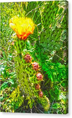 Canvas Print featuring the painting Cactus Flower - 02 by Gregory Dyer