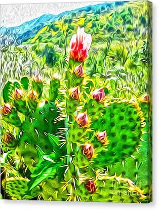 Canvas Print featuring the painting Cactus Flower by Gregory Dyer