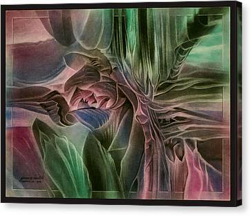 Canvas Print featuring the pastel Cactusbudcomp 2010 by Glenn Bautista