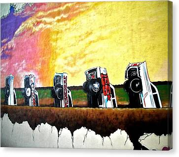 Cadillac Ranch - Montreal Canvas Print by Juergen Weiss