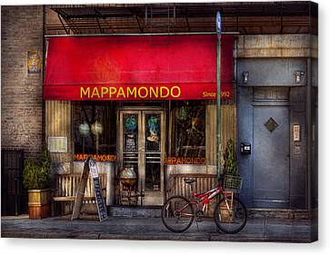 Cafe - Ny - Chelsea - Mappamondo  Canvas Print by Mike Savad