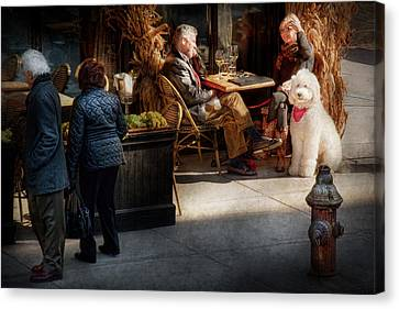 Cafe - Ny - High Line - Waiter I Would Like To Order  Canvas Print by Mike Savad