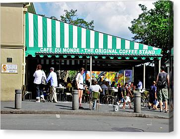 Canvas Print featuring the photograph Cafe Du Monde by Helen Haw