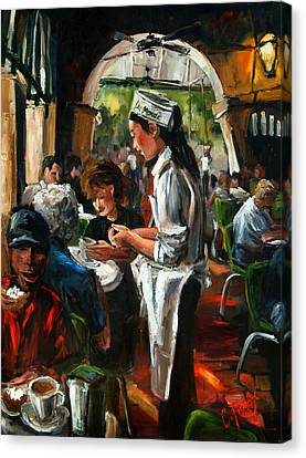 Cafe Dumonde Canvas Print by Carole Foret