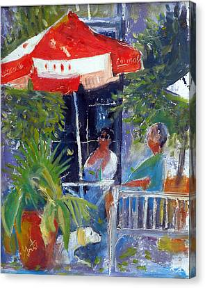 Canvas Print featuring the painting Cafe by Gertrude Palmer