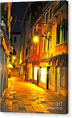 Cafe In Venice Canvas Print by Alberta Brown Buller