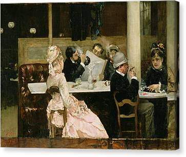 Cafe Scene In Paris Canvas Print by Henri Gervex
