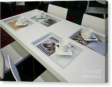Cafe Table With Cookbooks Canvas Print by Jaak Nilson