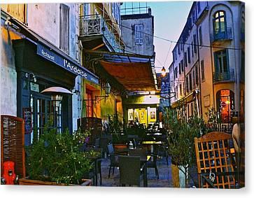 Place Du Forum Canvas Print - Cafe Terrace On The Place Du Forum by Eric Tressler