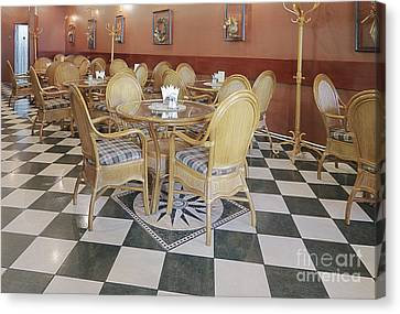 Cafe With Rattan Furniture Canvas Print