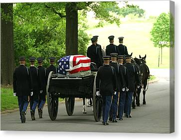 Caisson And Honor Guard On The Way Canvas Print