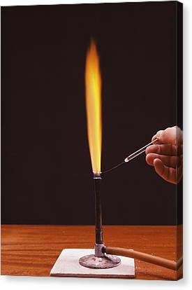 Calcium Flame Test Canvas Print by Andrew Lambert Photography