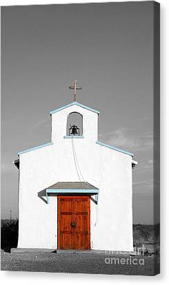 Calera Mission Chapel Facade In West Texas Color Splash Black And White Canvas Print by Shawn O'Brien
