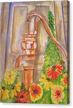 Calico Water Pump Canvas Print by Belinda Lawson