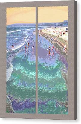 California Beachgoers Diptych Canvas Print by Steve Ohlsen