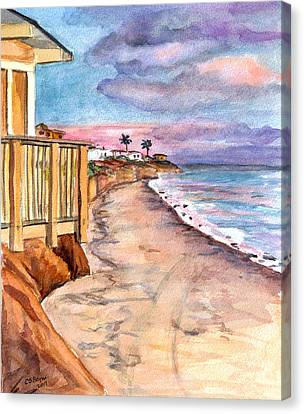 Canvas Print featuring the painting California Coast by Clara Sue Beym