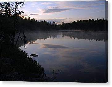 Calm Morning On Jenny Lake Canvas Print by Larry Ricker