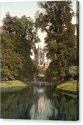 Cambridge - England - St. Johns College Chapel From The River Canvas Print by International  Images