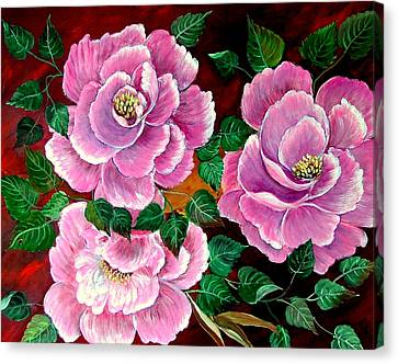 Canvas Print featuring the painting Camellias by Fram Cama