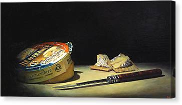 Camembert Knife And Crackers Canvas Print by Jeffrey Hayes