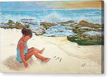Camila And The Carribean Sea Canvas Print by Jim Barber Hove