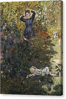 Camille And Jean In The Garden At Argenteuil  Canvas Print
