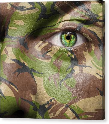 Camouflage Warrior Canvas Print by Semmick Photo