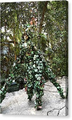 Camouflaged Tree Street Performer Animal Kingdom Walt Disney World Prints Fresco Canvas Print by Shawn O'Brien