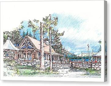 Canvas Print featuring the drawing Camp by Andrew Drozdowicz