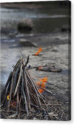 Canvas Print featuring the photograph Camp Fire by Carole Hinding