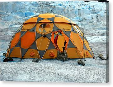 Camping On A Glacier Canvas Print