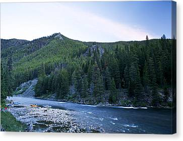 Camping On The Middle Fork Canvas Print by Drew Rush