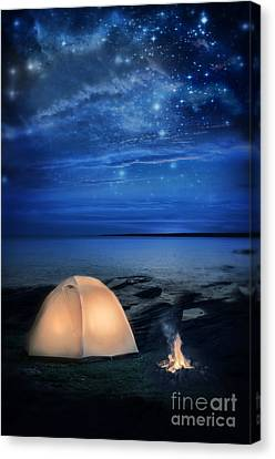 Camping Tent By The Lake At Night Canvas Print by Jill Battaglia