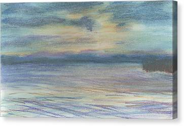 Canvas Print featuring the pastel Campout On Golden Beach by Denny Morreale