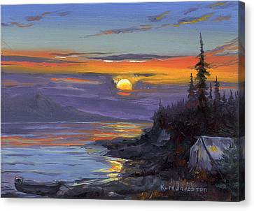 Canvas Print featuring the painting Campsite Sunset by Kurt Jacobson