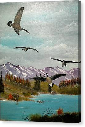 Canvas Print featuring the painting Canada Air Show by Al  Johannessen