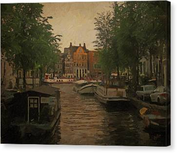 Canal In Amsterdam Canvas Print by Nop Briex