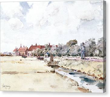 Towpath Canvas Print - Canal Scene by Childe Hassam