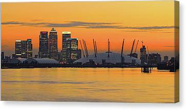 Canary Wharf At Sunset Canvas Print by Photography Aubrey Stoll