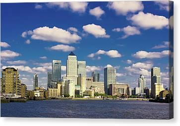 Canary Wharf Daytime Canvas Print by Darkerphoto