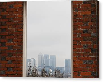Canvas Print featuring the photograph Canary Wharf View by Maj Seda