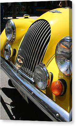 Canary Yellow Morgan Sportscar Canvas Print by Alan Rutherford