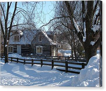Log Cabins Canvas Print - Canatara Log Cabin In Winter 1 by Bruce Ritchie