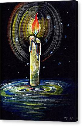 Candel On The Water  Canvas Print by Nada Meeks